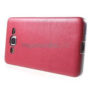 Ultratenký gelový kryt s imitací kůže na Samsung Grand Prime - červený - 5