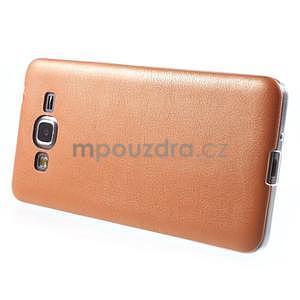 Ultratenký gelový kryt s imitací kůže na Samsung Grand Prime - oranžový - 5