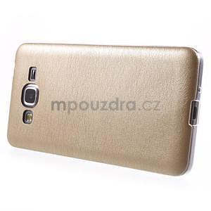 Ultratenký gelový kryt s imitací kůže na Samsung Grand Prime - zlatý - 5