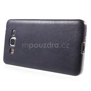 Ultratenký gelový kryt s imitací kůže na Samsung Grand Prime - tmavě modrý - 5