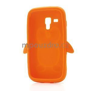 Silikonový obal tučňák na Samsung Galaxy S Duos - oranžový - 5