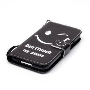 Knížkové PU kožené pouzdro na Samsung Galaxy S5 - nešahej na můj telefon - 5