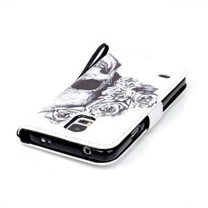 Knížkové PU kožené pouzdro na Samsung Galaxy S5 - lebka - 5