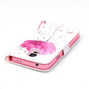 Knížkové PU kožené pouzdro na Samsung Galaxy S5 - makový květ - 5