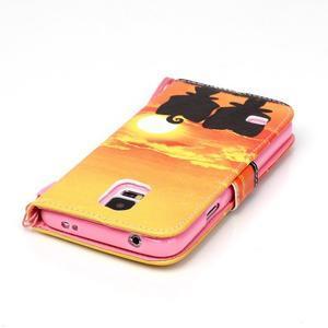 Knížkové PU kožené pouzdro na Samsung Galaxy S5 - západ slunce - 5