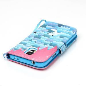 Knížkové PU kožené pouzdro na Samsung Galaxy S5 - sněžný muž - 5