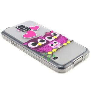 Transparentní gelový obal na mobil Samsung Galaxy S5 mini - soví rodinka - 5