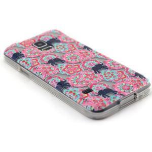 Transparentní gelový obal na mobil Samsung Galaxy S5 mini - květiny a sloni - 5