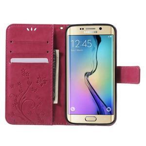Butterfly PU kožené pouzdro na mobil Samsung Galaxy S6 Edge - rose - 5