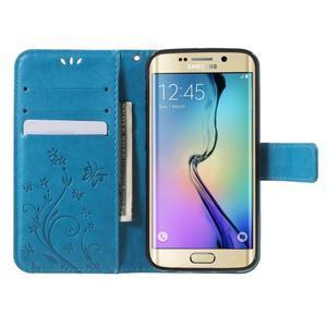 Butterfly PU kožené pouzdro na mobil Samsung Galaxy S6 Edge - modré - 5