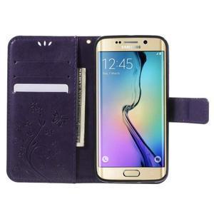 Butterfly PU kožené pouzdro na mobil Samsung Galaxy S6 Edge - fialové - 5