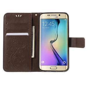 Butterfly PU kožené pouzdro na mobil Samsung Galaxy S6 Edge - coffee - 5