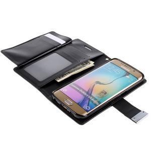 Richdiary PU kožené pouzdro na mobil Samsung Galaxy S6 Edge - černé - 5