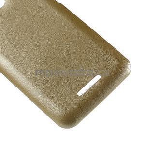 Gelový obal na Sony Xperia E4g s koženkovými zády - zlatý - 5