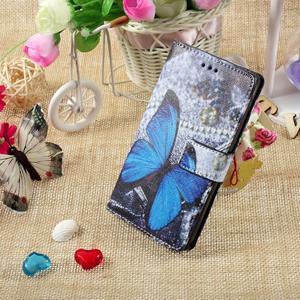 Standy peněženkové pouzdro Sony Xperia M2 Aqua - modrý motýl - 5