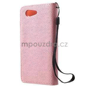 Růžové peněženkové pouzdro na Sony Xperia Z3 Compact - 5