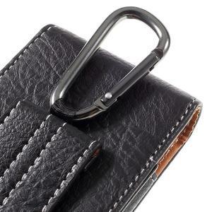 Cestovní PU kožené peněženkové pouzdro do rozměru 150 x 73 x 15 mm - černé - 5