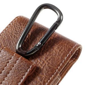 Cestovní PU kožené peněženkové pouzdro do rozměru 150 x 73 x 15 mm - hnědé - 5