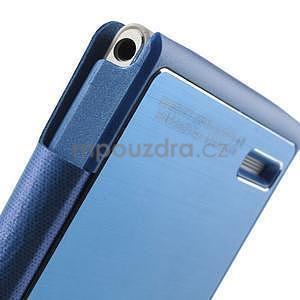 PU kožené pouzdro s okýnky na Huawei P6 - modré - 5