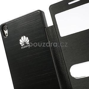 PU kožené pouzdro s okýnky na Huawei P6 - černé - 5