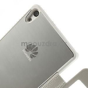 PU kožené pouzdro s okýnky na Huawei P6 - bílé - 5