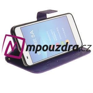 Dandelion PU kožené pouzdro na Huawei Y6 II a Honor 5A - fialové - 5