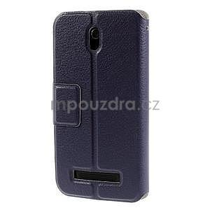 Flipové PU kožené pouzdro na HTC Desire 500 - tmavě fialové - 5