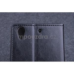 Černé PU kožené peněženkové pouzdro na Huawei Ascend G620s - 5
