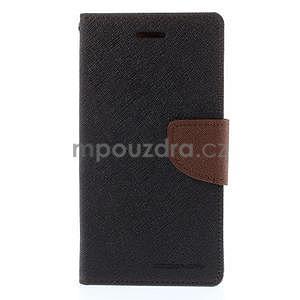 PU kožené peněženkové pouzdro na Nokia Lumia 830 - černé/hnědé - 5
