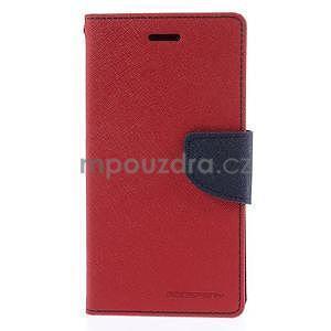 PU kožené peněženkové pouzdro na Nokia Lumia 830 - červené - 5
