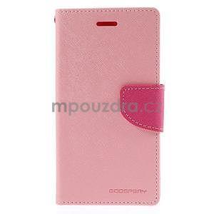 PU kožené peněženkové pouzdro na Nokia Lumia 830 - růžové - 5
