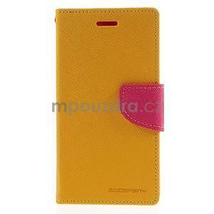 PU kožené peněženkové pouzdro na Nokia Lumia 830 - žluté - 5