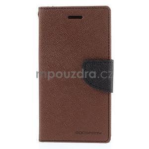 PU kožené peněženkové pouzdro na Nokia Lumia 830 - hnědé/černé - 5