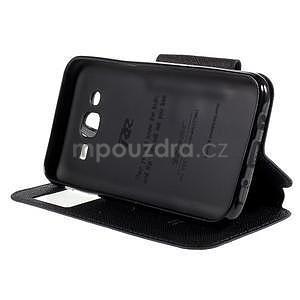 PU kožené pouzdro s okýnkem pro Samsung Galaxy J5 - tmavě modré - 5
