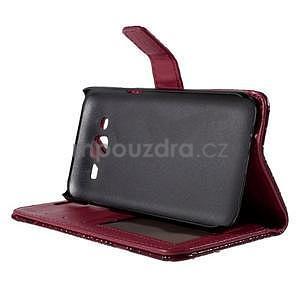 PU kožené pouzdro s imitací krokodýlí kůže Samsung Galaxy J5 - tmavě červené - 5