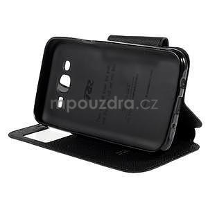PU kožené pouzdro s okýnkem pro Samsung Galaxy J5 - černé - 5