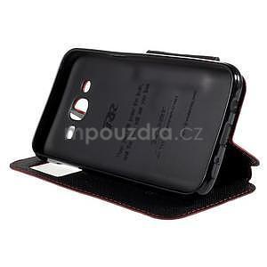 PU kožené pouzdro s okýnkem pro Samsung Galaxy J5 - červené - 5