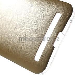 Gelový obal s jemným koženkovým plátem na Asus Zenfone 2 Laser ZE500KL  - champagne - 5