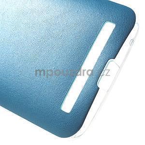 Gelový obal s jemným koženkovým plátem na Asus Zenfone 2 Laser ZE500KL  - modrý - 5