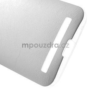 Gelový obal s jemným koženkovým plátem na Asus Zenfone 2 Laser ZE500KL  - bílý - 5