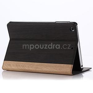 Koženkové pouzdro s imitací dřeva na iPad Mini 3, iPad Mini 2, iPad mini - tmavě šedé - 5