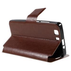 Peněženkové PU kožené pouzdro na mobil Doogee X5 - hnědé - 5