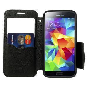 Peňaženkové puzdro s okienkom pro Samsung Galaxy S5 mini -  čierne - 5