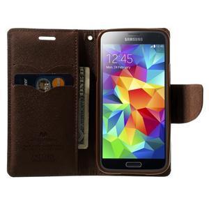 Diary PU kožené pouzdro na Samsung Galaxy S5 mini - černé/hnědé - 5