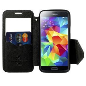 Pěněženkové pouzdro s okýnkem pro Samsung Galaxy S5 mini -  tmavěmodré - 5