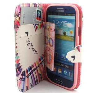 Peněženkové pouzdro na mobil Samsung Galaxy S3 - srdce z voskovek - 5