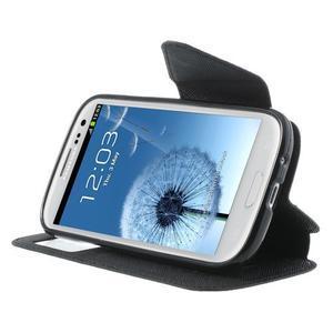 Peněženkové pouzdro s okýnkem pro Samsung Galaxy S3 / S III - černé - 5