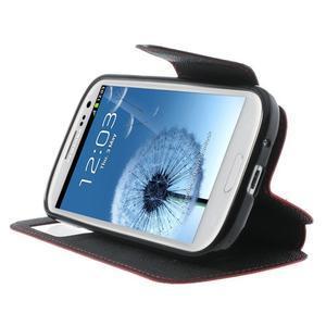 Peněženkové pouzdro s okýnkem pro Samsung Galaxy S3 / S III - červené - 5