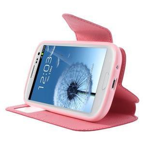 Peněženkové pouzdro s okýnkem pro Samsung Galaxy S3 / S III - rose - 5