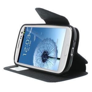 Peněženkové pouzdro s okýnkem pro Samsung Galaxy S3 / S III - tmavěmodré - 5